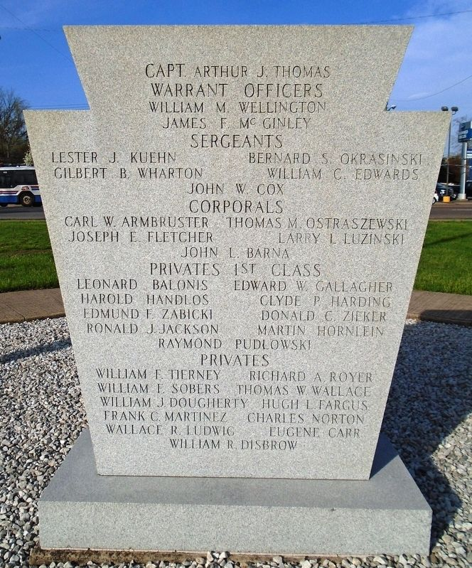 109th Field Artillery Battalion Memorial Marker (back) image. Click for full size.