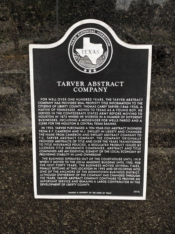 Tarver Abstract Company Marker image. Click for full size.