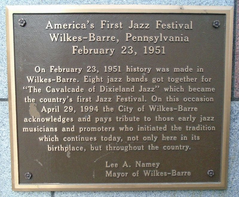 America's First Jazz Festival Marker image. Click for full size.
