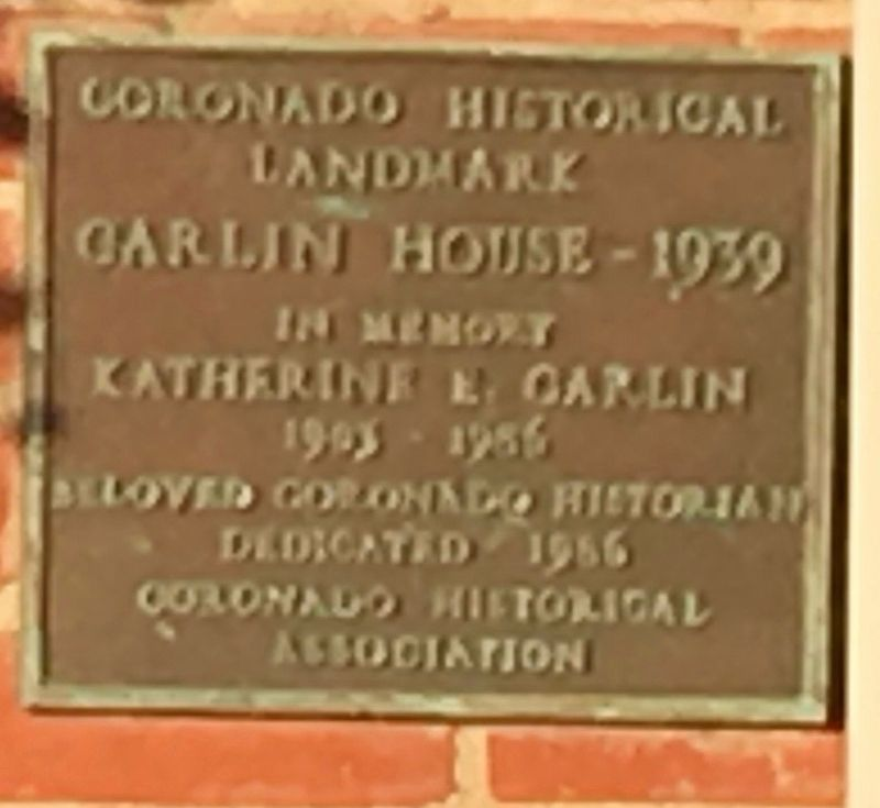 Carlin House - 1939 Marker image. Click for full size.