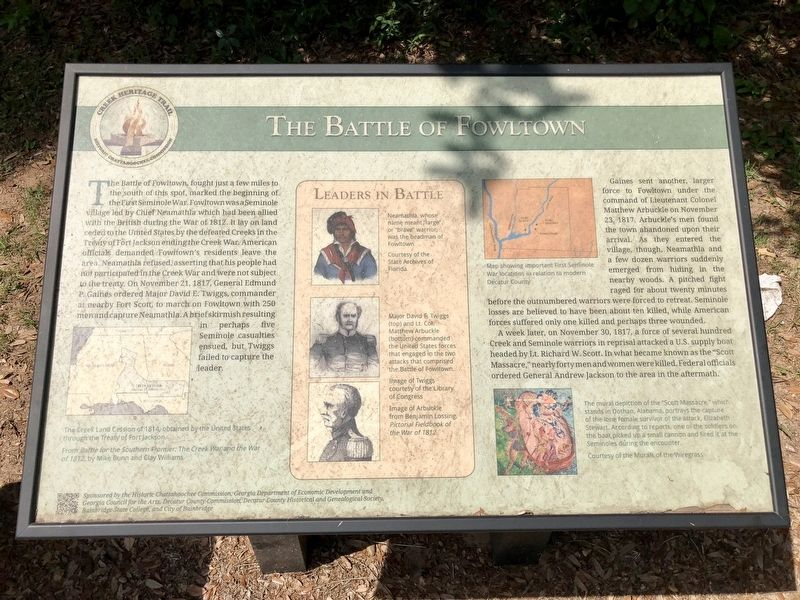 The Battle of Fowltown Marker image. Click for full size.