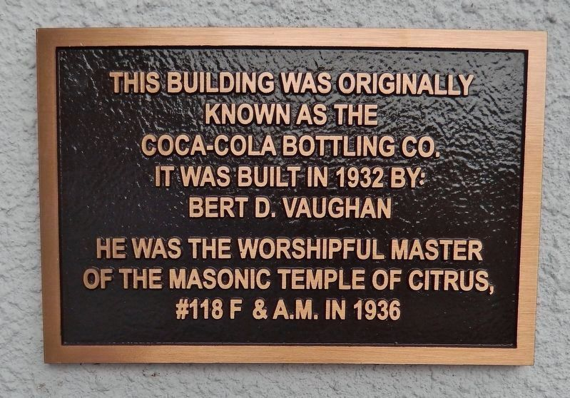 Original 1932 building dedication plaque (<i>mounted on building left of window tiles</i>) image. Click for full size.