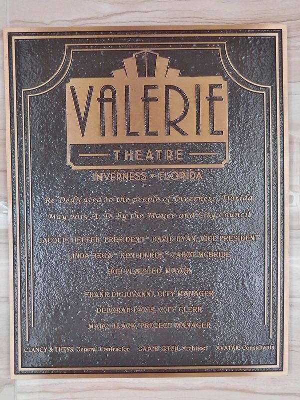 Valerie Theater Plaque (<i>mounted on wall, beside door, behind ticket booth</i>) image. Click for full size.