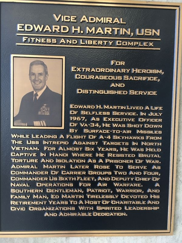 Vice Admiral Edward H. Martin, USN Fitness and Liberty Complex Marker image. Click for full size.