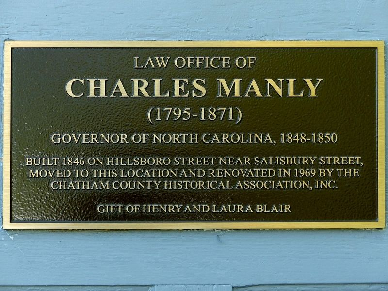 Law Office of<br>Charles Manly<br>(1795-1871) Marker image. Click for full size.