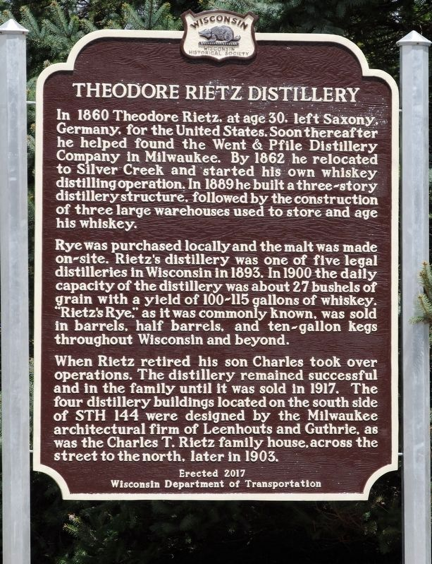 Theodore Rietz Distillery Marker image. Click for full size.