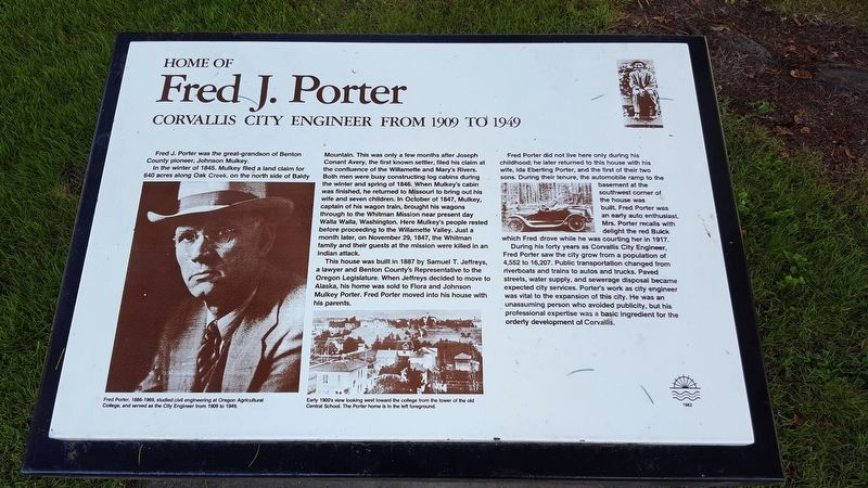 Home of Fred J. Porter Marker image. Click for full size.
