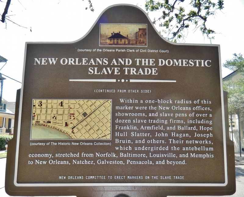 New Orleans and the Domestic Slave Trade Marker (<i>back side</i>) image. Click for full size.