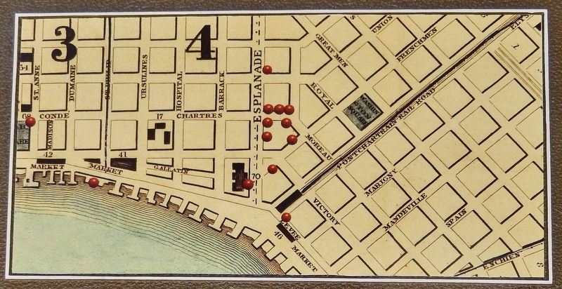 Marker detail: map of nearby offices, showrooms, and slave pens of over a dozen slave trading firms image. Click for full size.