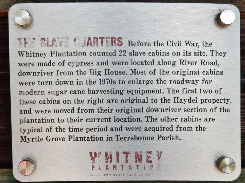The Slave Quarters Marker image. Click for full size.