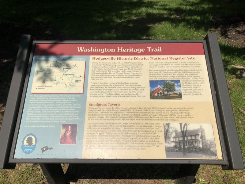Hedgesville Historic District National Register Site Marker image. Click for full size.