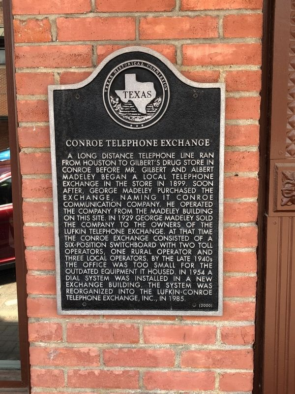 Conroe Telephone Exchange Marker image. Click for full size.