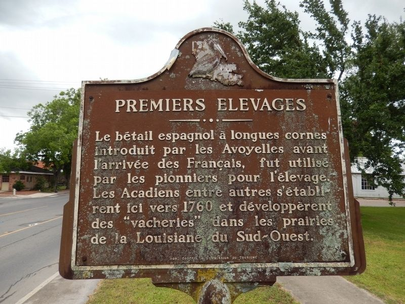 Early Cattle Industry Marker (<i>side two - French</i>) image. Click for full size.