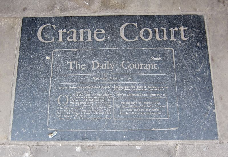 Crane Court Marker image. Click for full size.