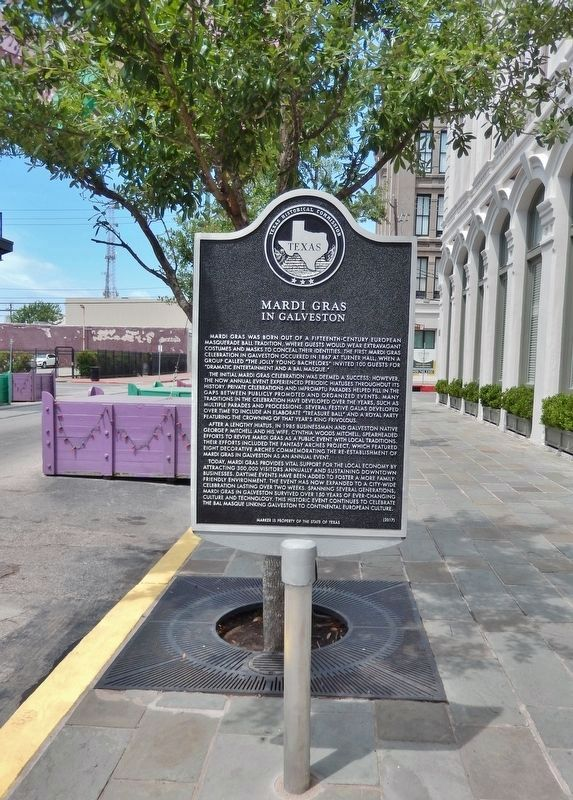 Mardi Gras in Galveston Marker (<i>tall view; looking west along Mechanic Street</i>) image. Click for full size.