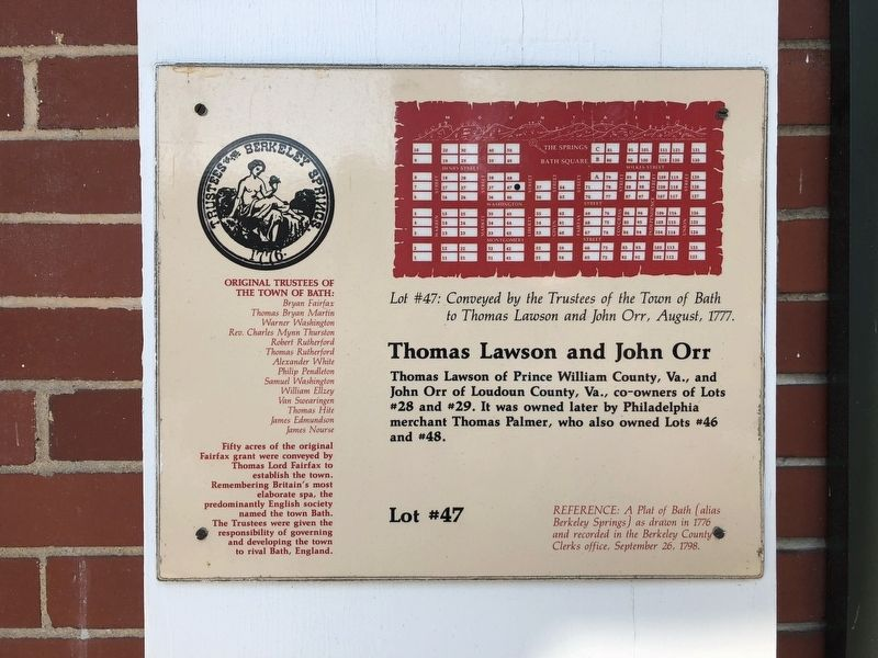 Thomas Lawsom and John Orr Marker image. Click for full size.