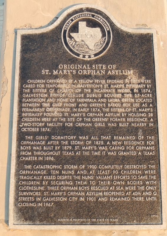 Original Site of St. Mary's Orphan Asylum Marker image. Click for full size.