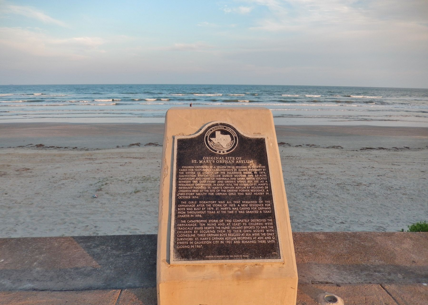 Original Site of St. Mary&#39;s Orphan Asylum Marker (<i>wide view; Galveston Beach in background</i>) image. Click for full size.