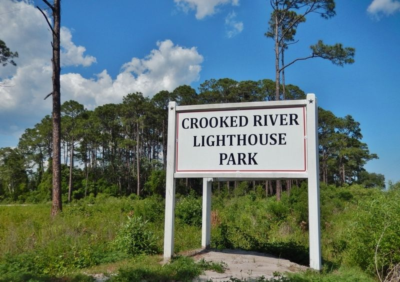 Crooked River Lighthouse Park Sign (<i>turn in here from US 98 to access lighthouse & marker</i>) image. Click for full size.