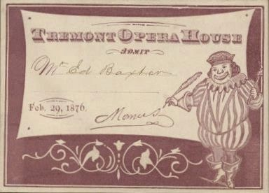 Mardi Gras Party Invitation for the Tremont Opera House, 1876 image. Click for full size.