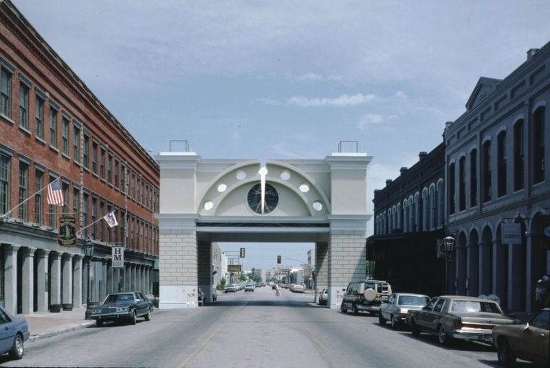 <i>Photograph of the Mardi Gras Arch in Galveston, Texas</i> image. Click for full size.