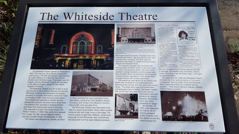 The Whiteside Theatre Marker image. Click for full size.