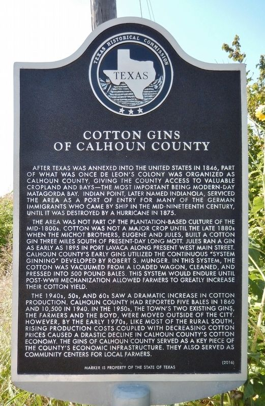Cotton Gins of Calhoun County Marker image. Click for full size.
