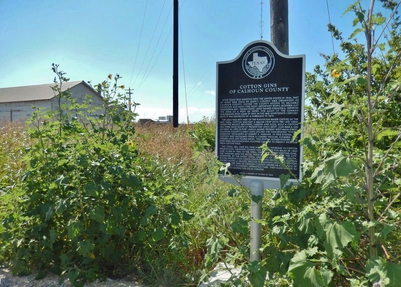 Cotton Gins of Calhoun County Marker (<i>wide view to west</i>) image. Click for full size.