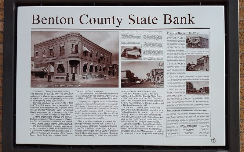 Benton County State Bank Marker image. Click for full size.