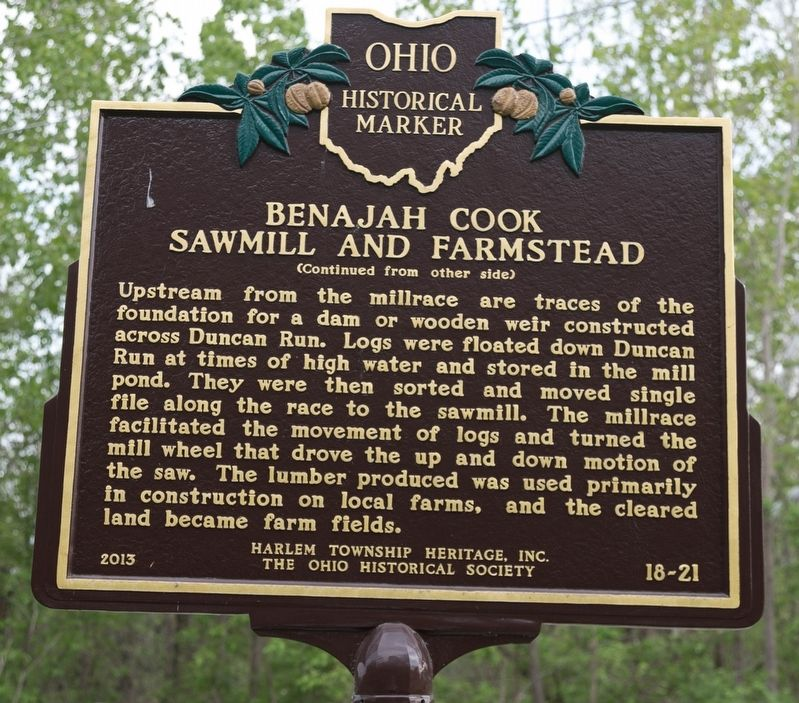 Benajah Cook Sawmill and Farmstead Marker, Side 2 image. Click for full size.