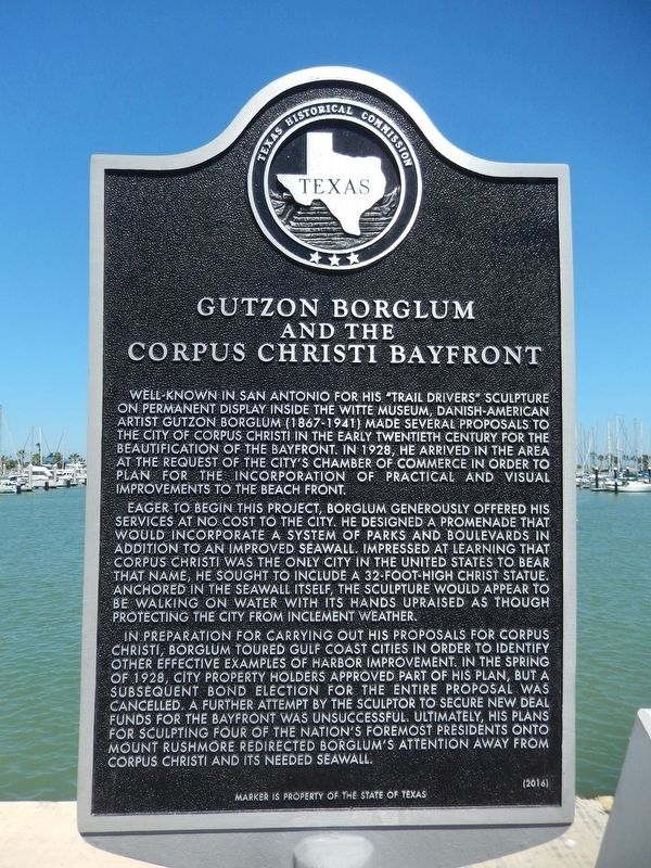 Gutzon Borglum and the Corpus Christi Bayfront Marker image. Click for full size.