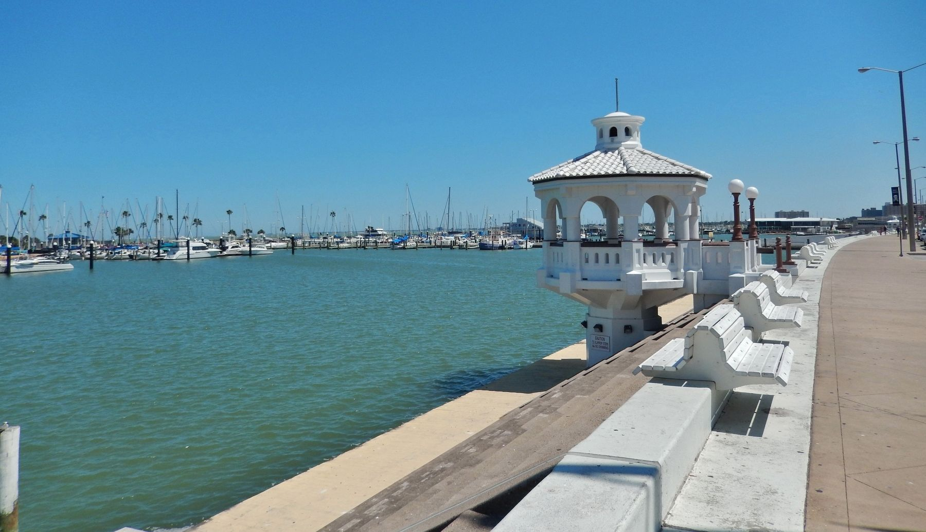 Corpus Christi Seawall (<i>view from near marker</i>) image. Click for full size.