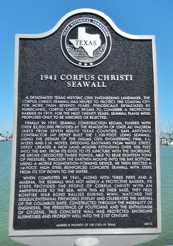 1941 Corpus Christi Seawall Marker image. Click for full size.