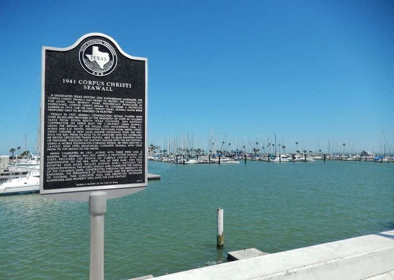 1941 Corpus Christi Seawall Marker (<i>wide view</i>) image. Click for full size.
