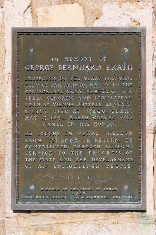 George Bernhard Erath Marker image. Click for full size.