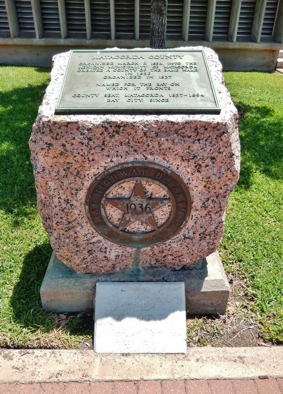 Matagorda County Marker (<i>tall view; 1895 Matagorda County Courthouse cornerstone at bottom</i>) image. Click for full size.