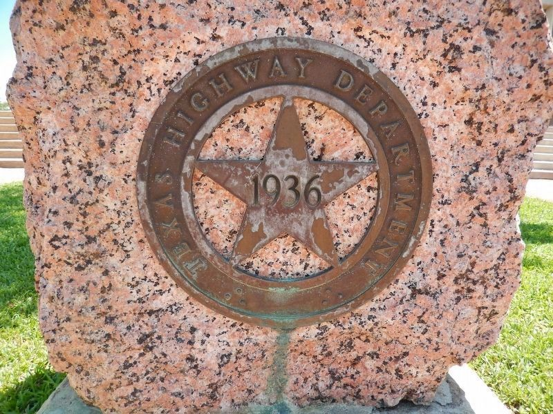 Texas Highway Department 1936 Centennial Star (<i>on front of granite marker pedestal</i>) image. Click for full size.