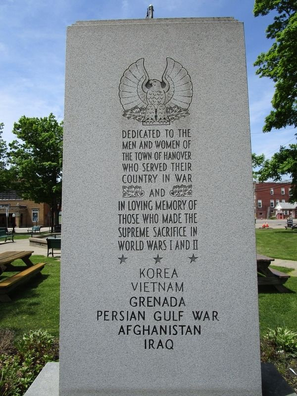 Town of Hanover Veterans Memorial image. Click for full size.