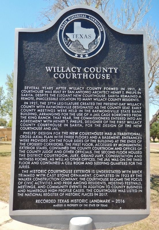 Willacy County Courthouse Marker image. Click for full size.