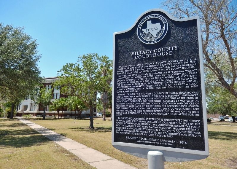 Willacy County Courthouse Marker (<i>wide view; Willacy County Courthouse in background</i>) image. Click for full size.