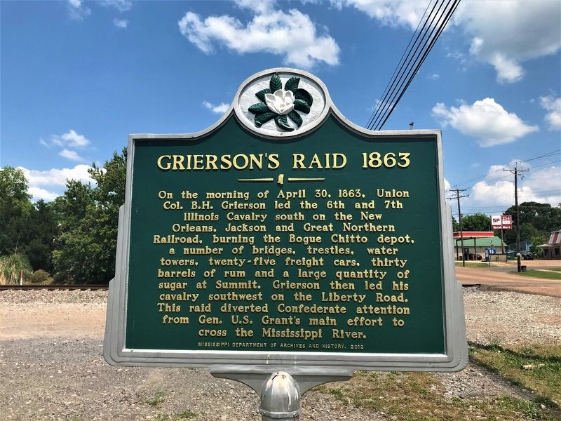 Grierson's Raid 1863 Marker image. Click for full size.
