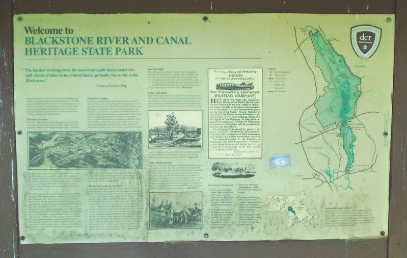 Welcome to Blackstone River and Canal Heritage State Park Marker image. Click for full size.