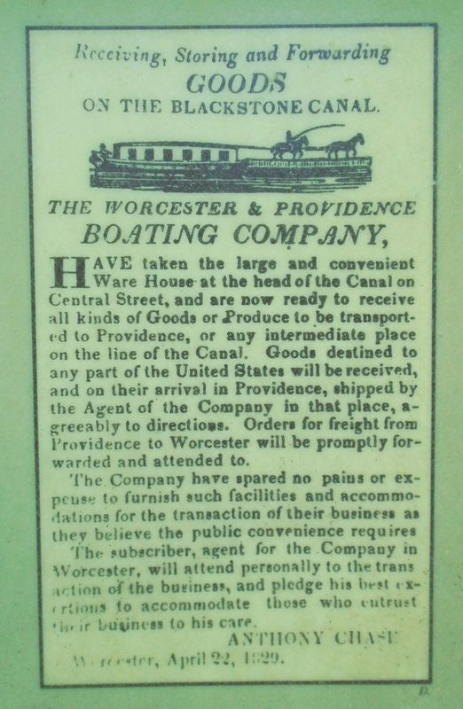 Historical Advertisement on Welcome to Blackstone River and Canal Heritage State Park Marker image. Click for full size.