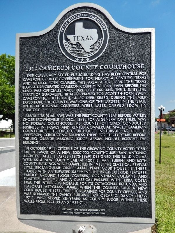 1912 Cameron County Courthouse Marker image. Click for full size.