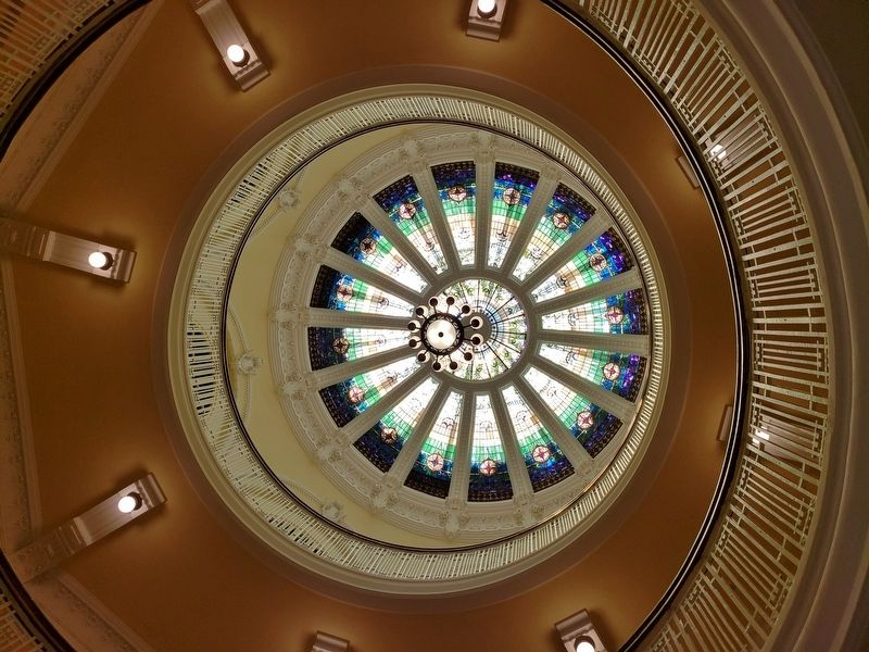 Interior octagonal rotunda and elaborate art-glass dome image. Click for full size.