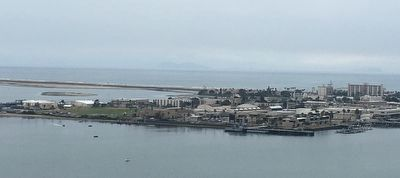 View of the Naval Amphibious Base, Coronado from the Bay bridge. image. Click for full size.