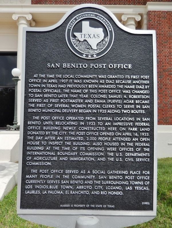 San Benito Post Office Marker image. Click for full size.