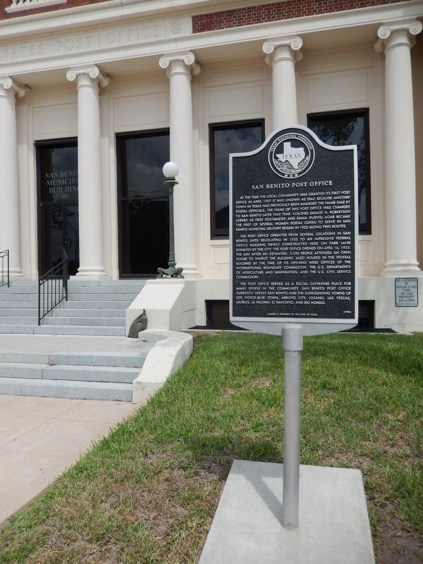 San Benito Post Office Marker (<i>tall view</i>) image. Click for full size.