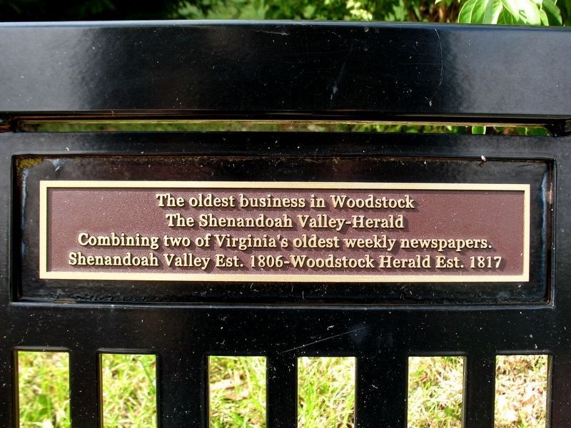 The oldest business in Woodstock Marker image. Click for full size.