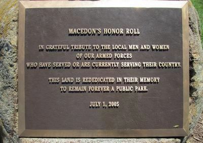 Macedon's Honor Roll Memorial image. Click for full size.